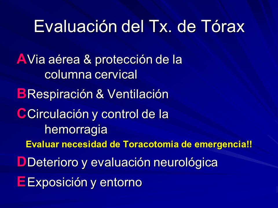Evaluación del Tx. de Tórax A Via aérea & protección de la columna cervical B Respiración & Ventilación C Circulación y control de la hemorragia Evalu