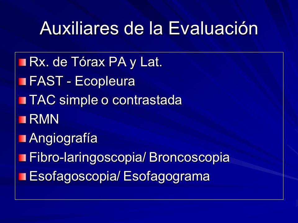 Auxiliares de la Evaluación Rx. de Tórax PA y Lat. FAST - Ecopleura TAC simple o contrastada RMNAngiografía Fibro-laringoscopia/ Broncoscopia Esofagos