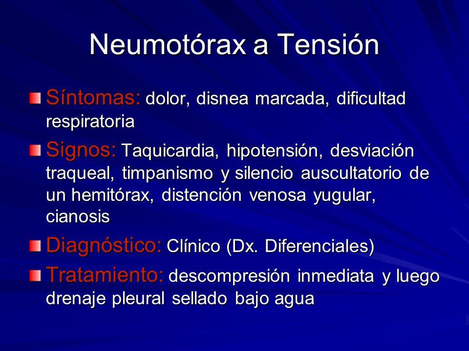Neumotórax a Tensión Síntomas: dolor, disnea marcada, dificultad respiratoria Signos: Taquicardia, hipotensión, desviación traqueal, timpanismo y sile