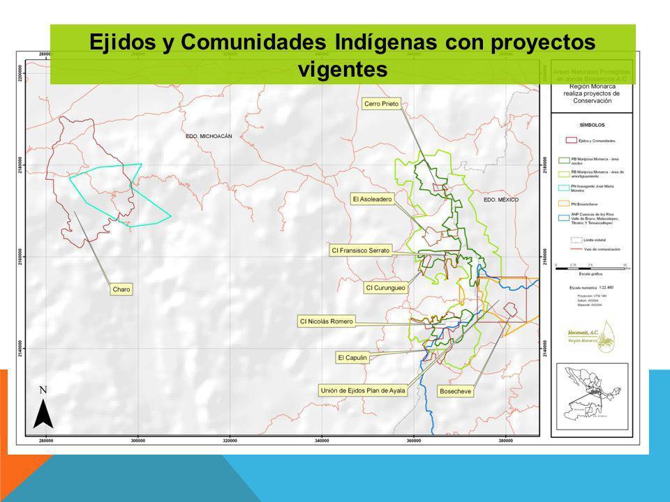 Ejidos y Comunidades Indígenas con proyectos vigentes
