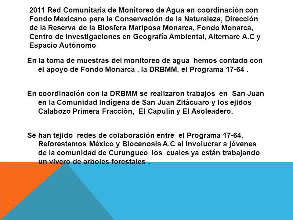 2011 Red Comunitaria de Monitoreo de Agua en coordinación con Fondo Mexicano para la Conservación de la Naturaleza, Dirección de la Reserva de la Bios