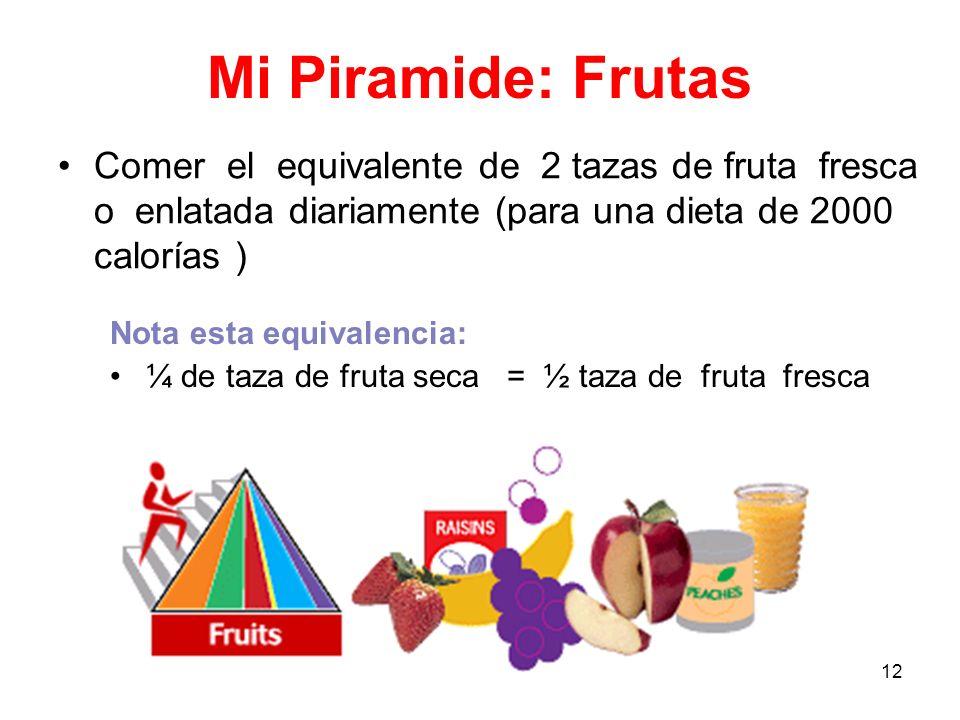 12 Mi Piramide: Frutas Comer el equivalente de 2 tazas de fruta fresca o enlatada diariamente (para una dieta de 2000 calorías ) Nota esta equivalenci
