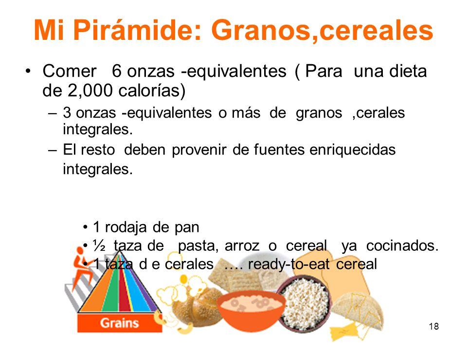 18 Mi Pirámide: Granos,cereales Comer 6 onzas -equivalentes ( Para una dieta de 2,000 calorías) –3 onzas -equivalentes o más de granos,cerales integra