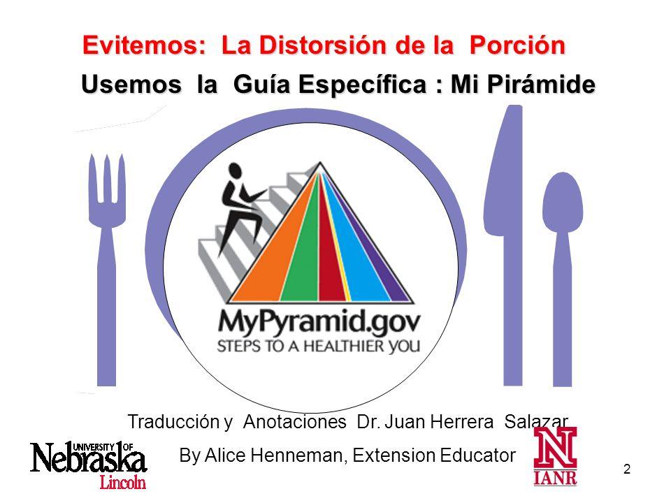 2 Traducción y Anotaciones Dr. Juan Herrera Salazar By Alice Henneman, Extension Educator Usemos la Guía Específica : Mi Pirámide Evitemos: La Distors