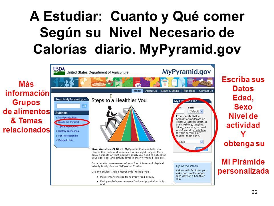 22 A Estudiar: Cuanto y Qué comer Según su Nivel Necesario de Calorías diario. MyPyramid.gov Escriba sus Datos Edad, Sexo Nivel de actividad Y obtenga