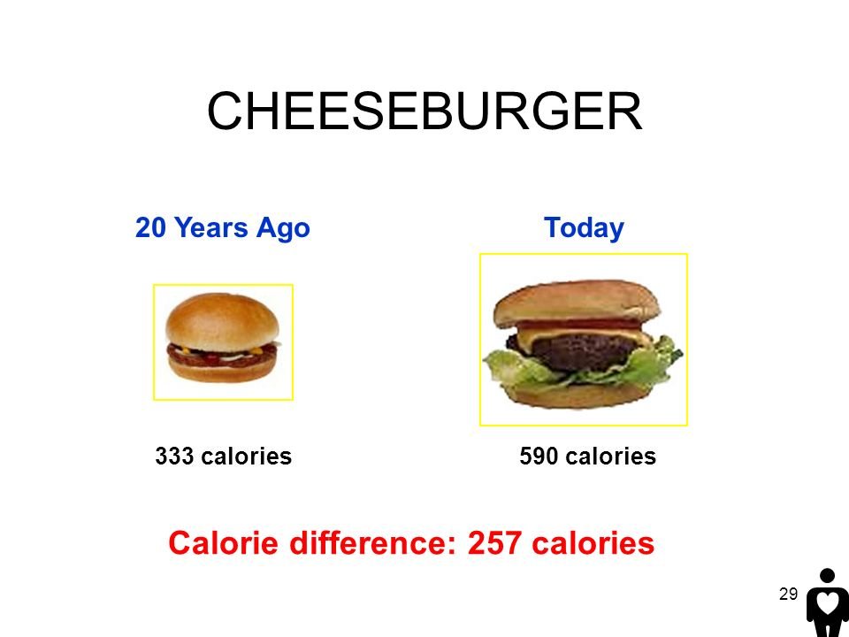29 Calorie difference: 257 calories 590 calories CHEESEBURGER 20 Years AgoToday 333 calories