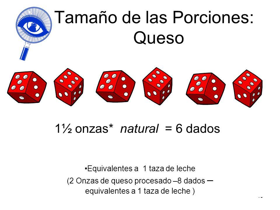 49 Tamaño de las Porciones: Queso 1½ onzas* natural = 6 dados Equivalentes a 1 taza de leche (2 Onzas de queso procesado –8 dados – equivalentes a 1 t