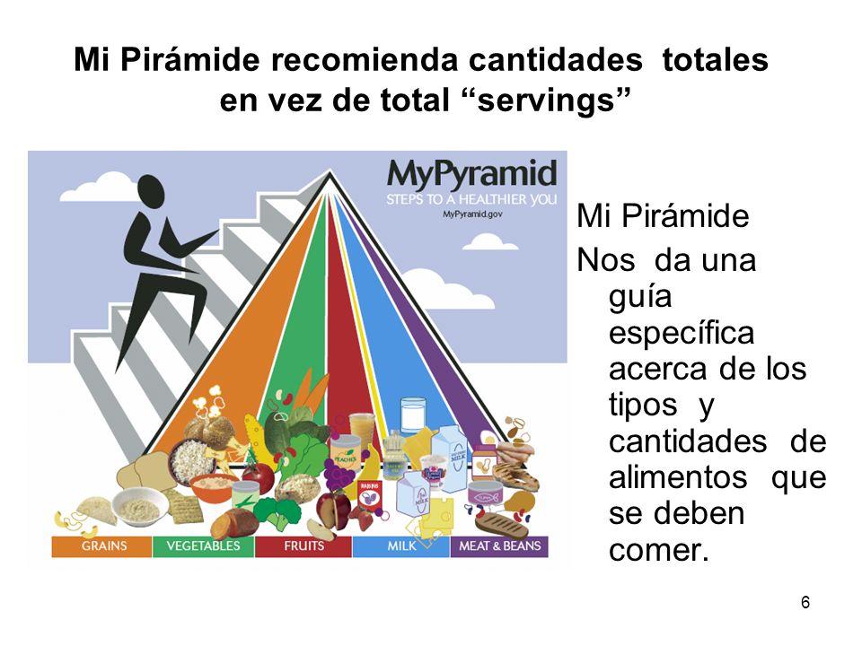 6 Mi Pirámide Nos da una guía específica acerca de los tipos y cantidades de alimentos que se deben comer. Mi Pirámide recomienda cantidades totales e