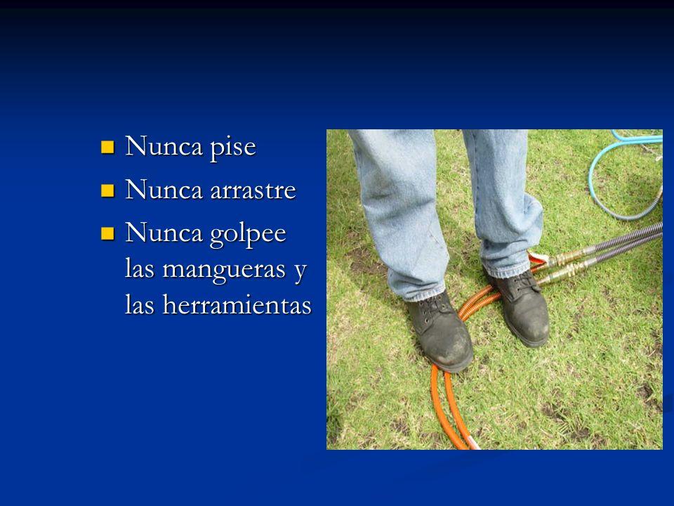 Nunca pise Nunca pise Nunca arrastre Nunca arrastre Nunca golpee las mangueras y las herramientas Nunca golpee las mangueras y las herramientas