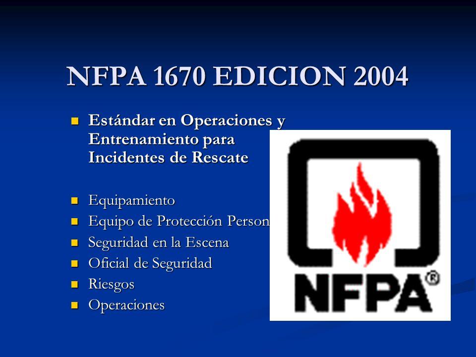 NFPA 1670 EDICION 2004 Estándar en Operaciones y Entrenamiento para Incidentes de Rescate Estándar en Operaciones y Entrenamiento para Incidentes de R