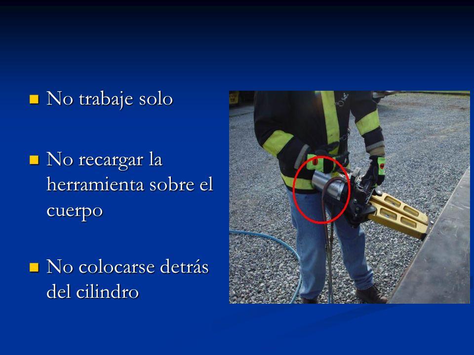 No trabaje solo No trabaje solo No recargar la herramienta sobre el cuerpo No recargar la herramienta sobre el cuerpo No colocarse detrás del cilindro