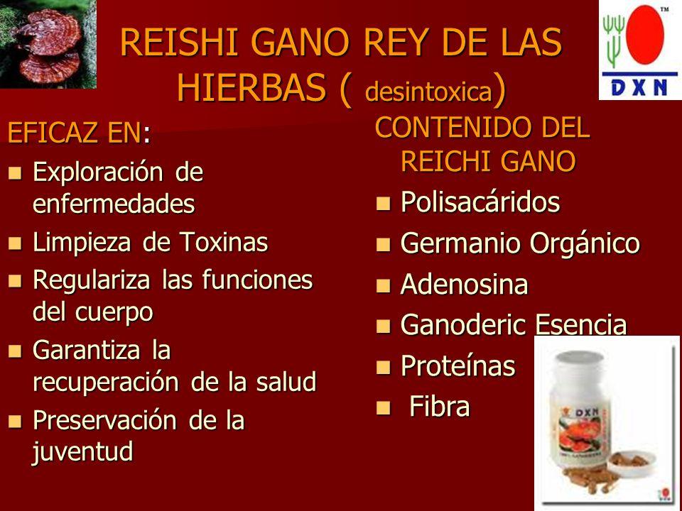 REISHI GANO REY DE LAS HIERBAS POLISACARIDOS: (limpiadores) POLISACARIDOS: (limpiadores) 1.