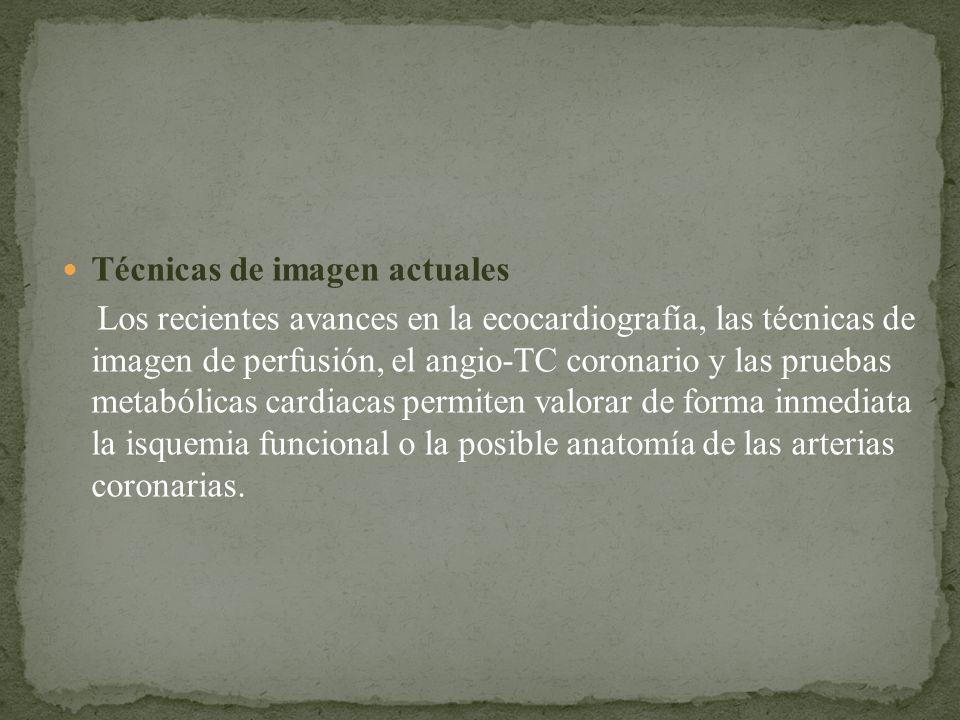 Técnicas de imagen actuales Los recientes avances en la ecocardiografía, las técnicas de imagen de perfusión, el angio-TC coronario y las pruebas meta