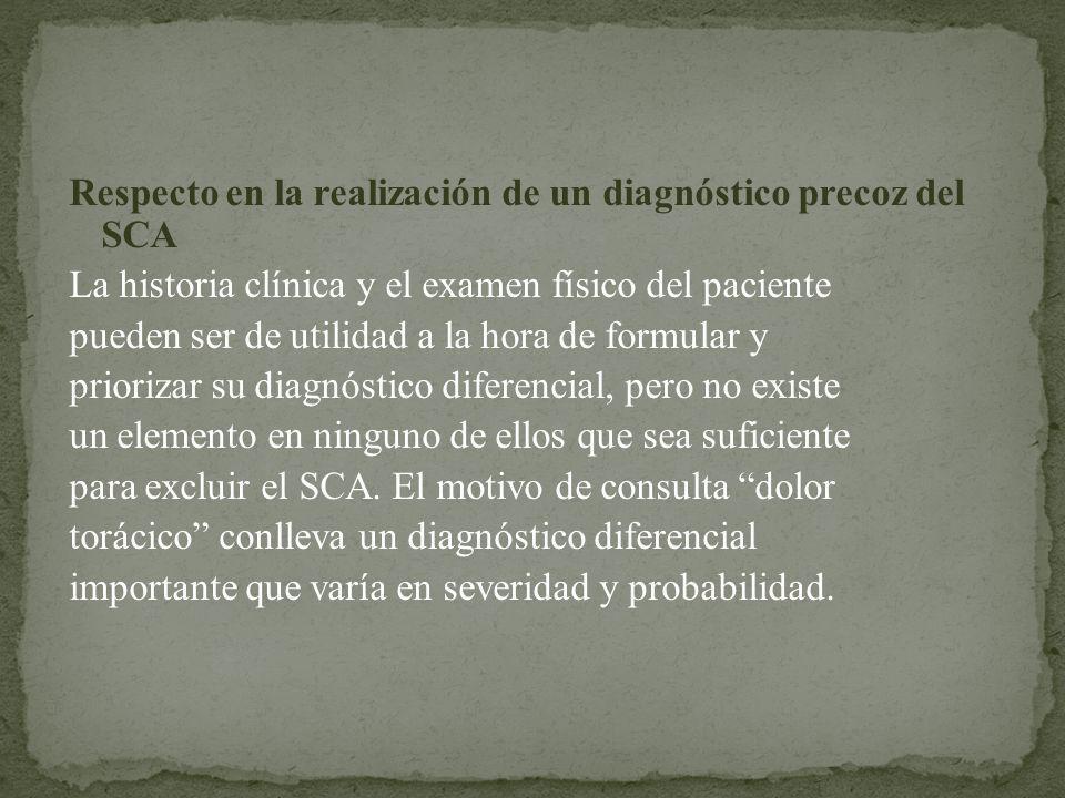 Respecto en la realización de un diagnóstico precoz del SCA La historia clínica y el examen físico del paciente pueden ser de utilidad a la hora de fo