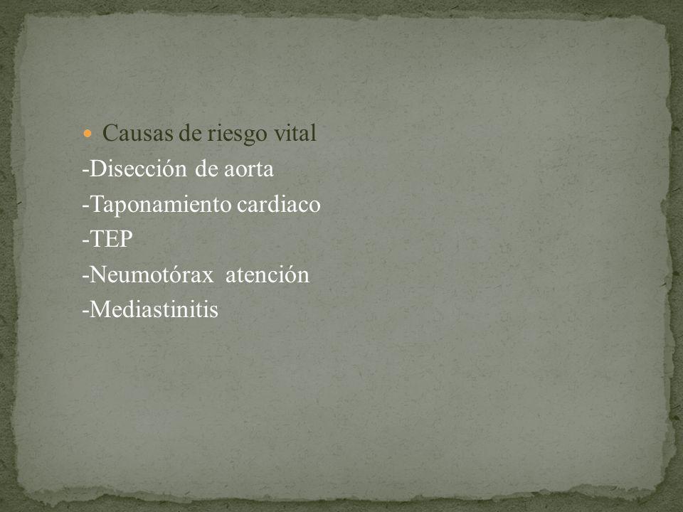 Causas de riesgo vital -Disección de aorta -Taponamiento cardiaco -TEP -Neumotórax atención -Mediastinitis