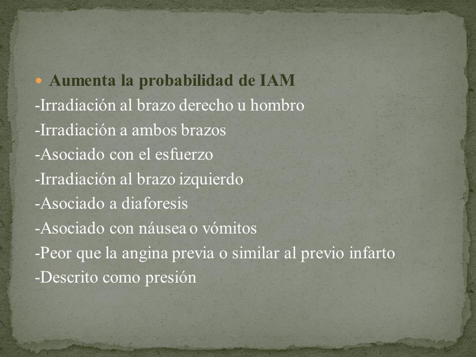 Aumenta la probabilidad de IAM -Irradiación al brazo derecho u hombro -Irradiación a ambos brazos -Asociado con el esfuerzo -Irradiación al brazo izqu