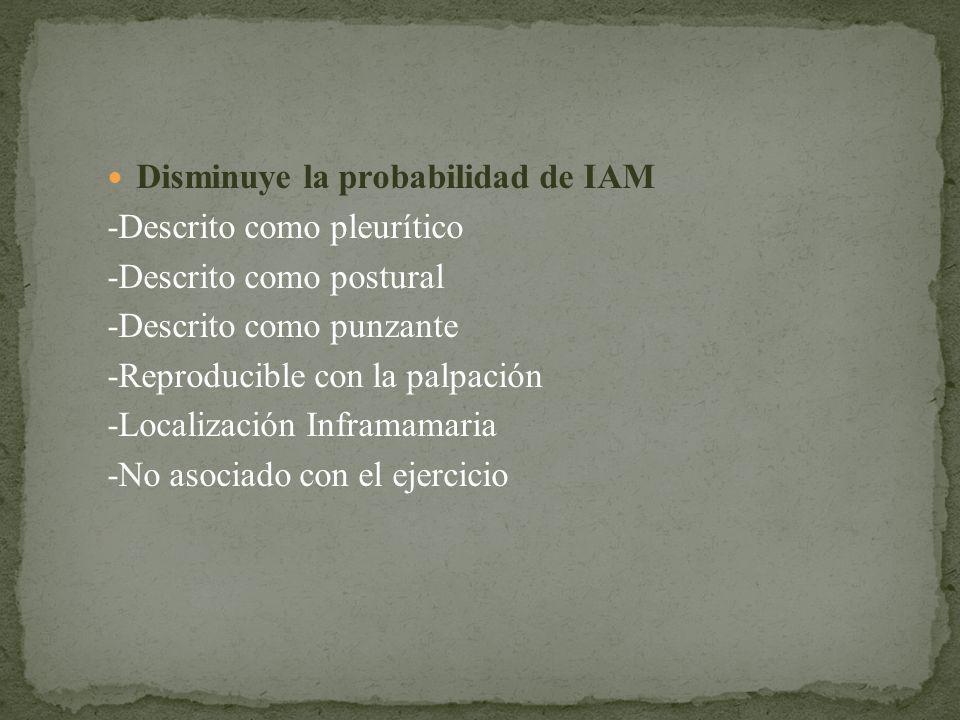 Disminuye la probabilidad de IAM -Descrito como pleurítico -Descrito como postural -Descrito como punzante -Reproducible con la palpación -Localizació