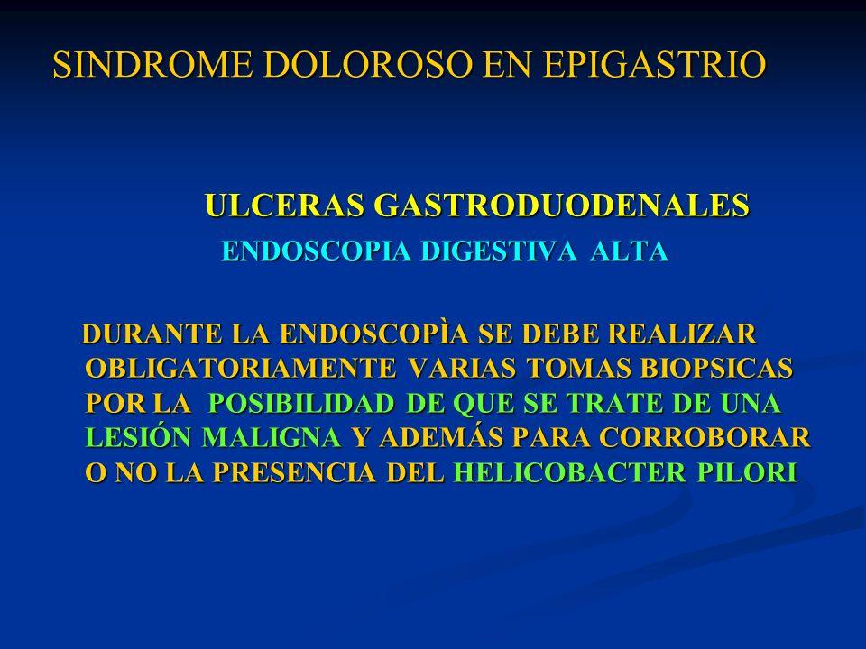 SINDROME DOLOROSO EN EPIGASTRIO SINDROME DOLOROSO EN EPIGASTRIO ULCERAS GASTRODUODENALES ULCERAS GASTRODUODENALES ENDOSCOPIA DIGESTIVA ALTA ENDOSCOPIA