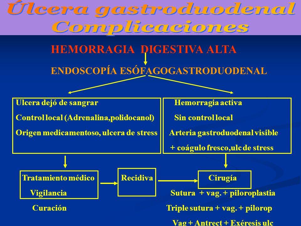 HEMORRAGIA DIGESTIVA ALTA ENDOSCOPÍA ESÓFAGOGASTRODUODENAL Ulcera dejó de sangrar Hemorragia activa Control local (Adrenalina,polidocanol) Sin control