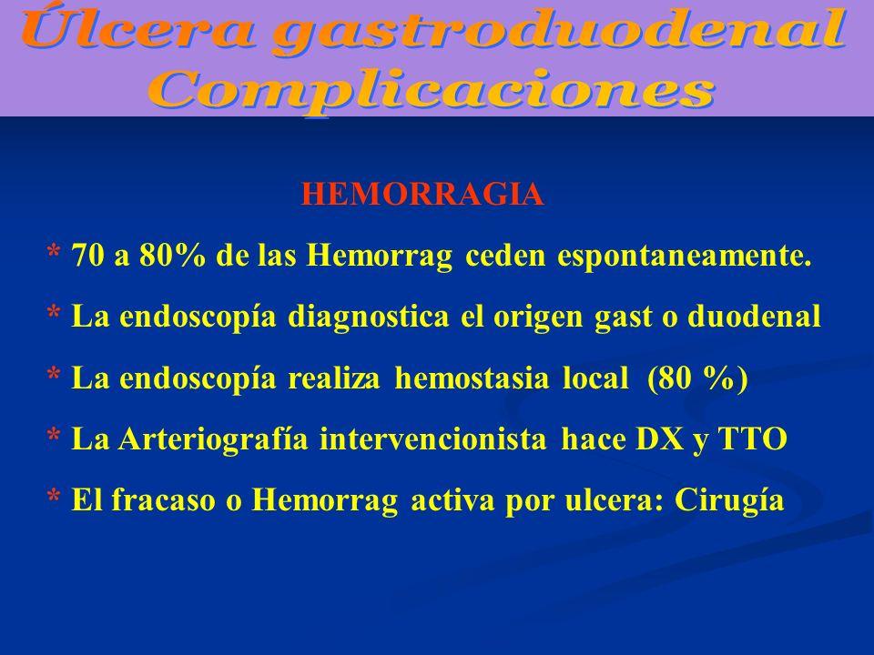 HEMORRAGIA * 70 a 80% de las Hemorrag ceden espontaneamente. * La endoscopía diagnostica el origen gast o duodenal * La endoscopía realiza hemostasia