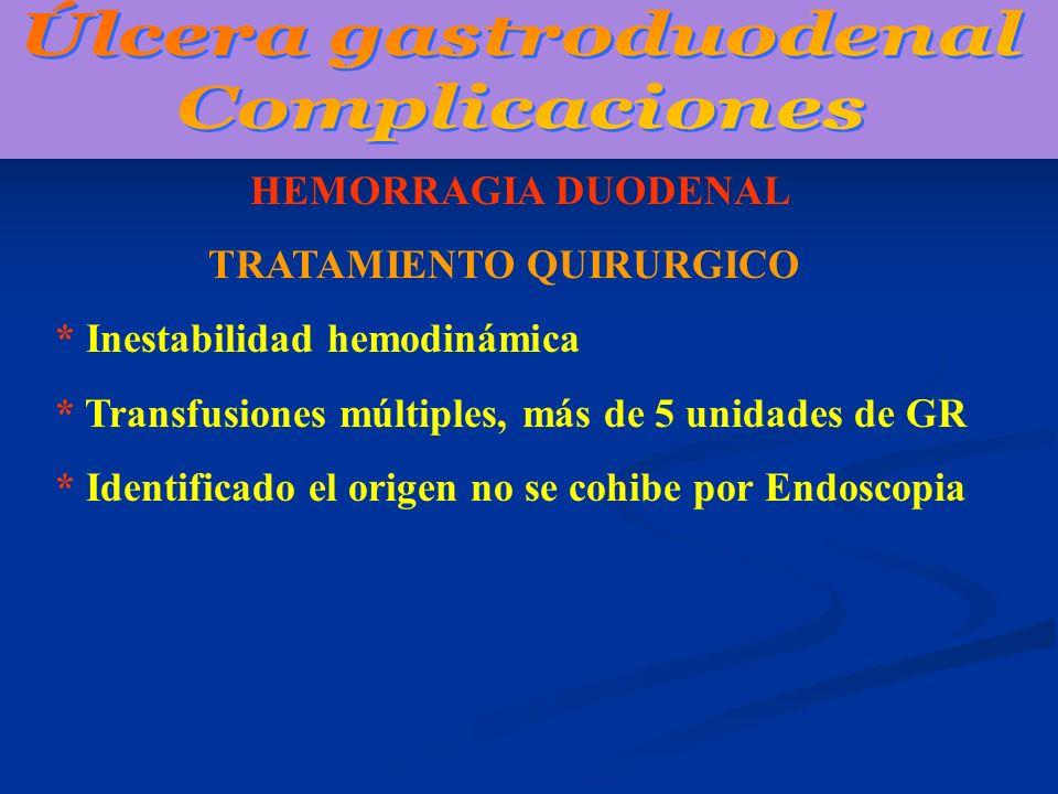 HEMORRAGIA DUODENAL TRATAMIENTO QUIRURGICO * Inestabilidad hemodinámica * Transfusiones múltiples, más de 5 unidades de GR * Identificado el origen no