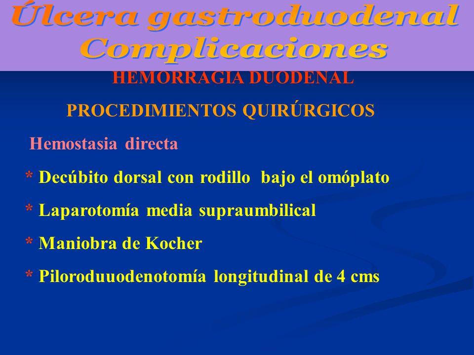 HEMORRAGIA DUODENAL PROCEDIMIENTOS QUIRÚRGICOS Hemostasia directa * Decúbito dorsal con rodillo bajo el omóplato * Laparotomía media supraumbilical *