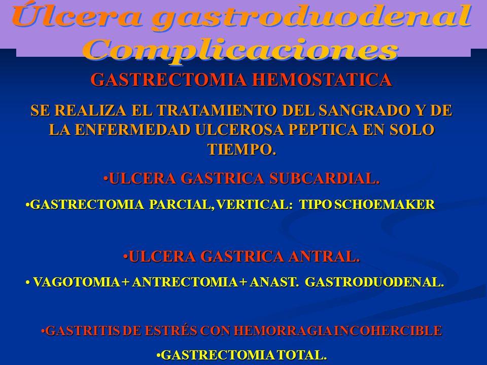 GASTRECTOMIA HEMOSTATICA SE REALIZA EL TRATAMIENTO DEL SANGRADO Y DE LA ENFERMEDAD ULCEROSA PEPTICA EN SOLO TIEMPO. ULCERA GASTRICA SUBCARDIAL.ULCERA