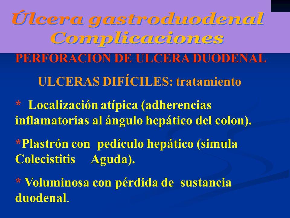PERFORACIÓN DE ULCERA DUODENAL ULCERAS DIFÍCILES: tratamiento * Localización atípica (adherencias inflamatorias al ángulo hepático del colon). *Plastr