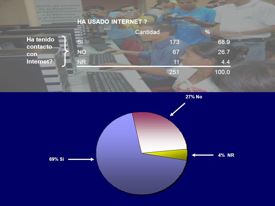 69% Si 27% No 4% NR HA USADO INTERNET .
