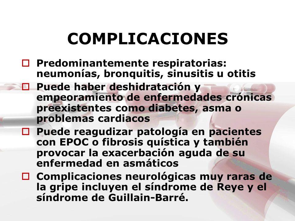 COMPLICACIONES Predominantemente respiratorias: neumonías, bronquitis, sinusitis u otitis Puede haber deshidratación y empeoramiento de enfermedades c