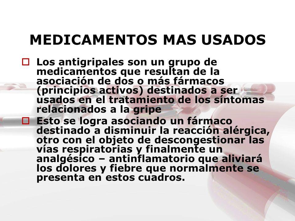 MEDICAMENTOS MAS USADOS Los antigripales son un grupo de medicamentos que resultan de la asociación de dos o más fármacos (principios activos) destina