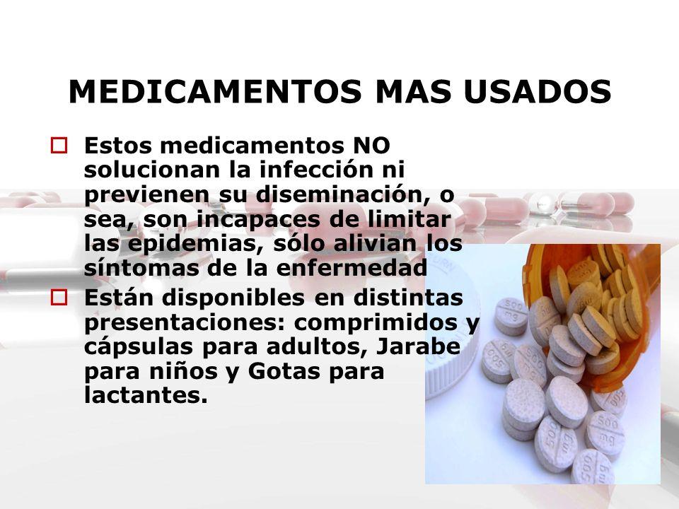 MEDICAMENTOS MAS USADOS Estos medicamentos NO solucionan la infección ni previenen su diseminación, o sea, son incapaces de limitar las epidemias, sól