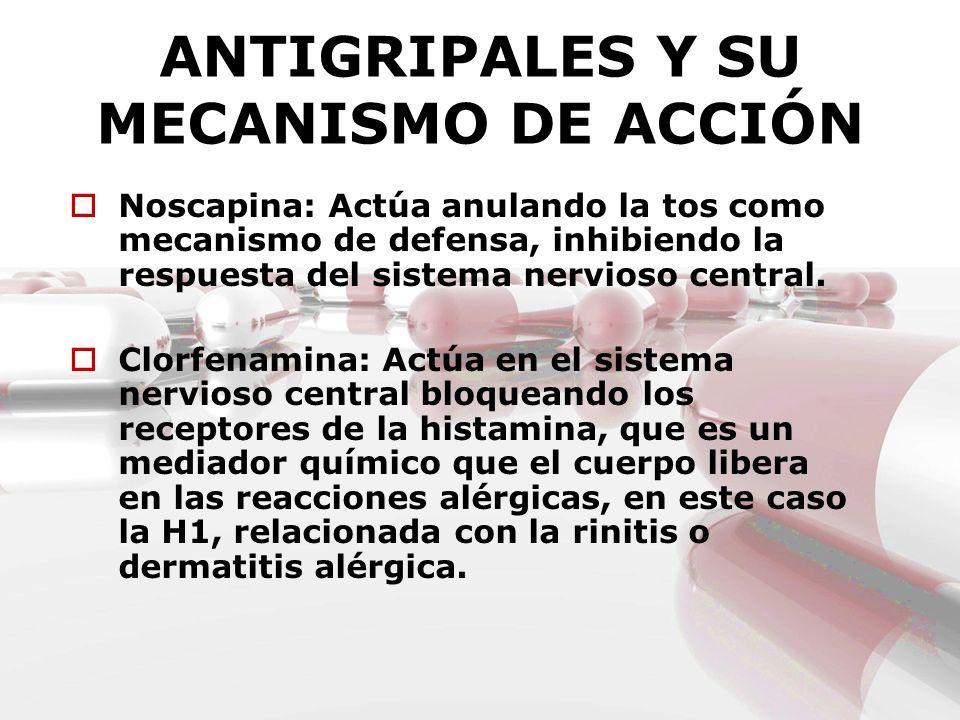 ANTIGRIPALES Y SU MECANISMO DE ACCIÓN Noscapina: Actúa anulando la tos como mecanismo de defensa, inhibiendo la respuesta del sistema nervioso central