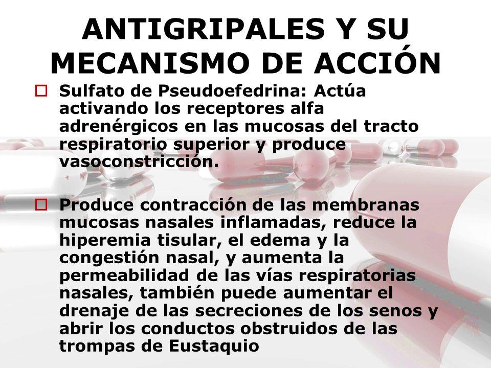 ANTIGRIPALES Y SU MECANISMO DE ACCIÓN Sulfato de Pseudoefedrina: Actúa activando los receptores alfa adrenérgicos en las mucosas del tracto respirator