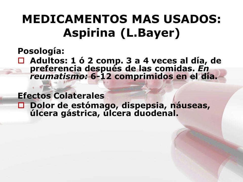 MEDICAMENTOS MAS USADOS: Aspirina (L.Bayer) Posología: Adultos: 1 ó 2 comp. 3 a 4 veces al día, de preferencia después de las comidas. En reumatismo: