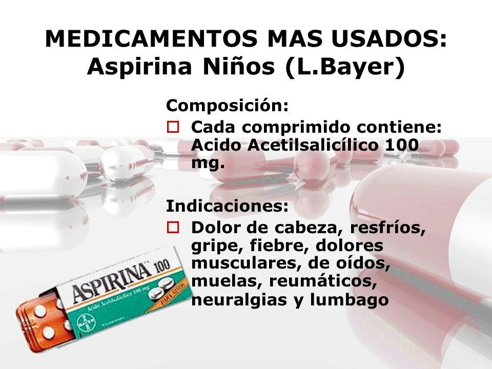 MEDICAMENTOS MAS USADOS: Aspirina Niños (L.Bayer) Composición: Cada comprimido contiene: Acido Acetilsalicílico 100 mg. Indicaciones: Dolor de cabeza,