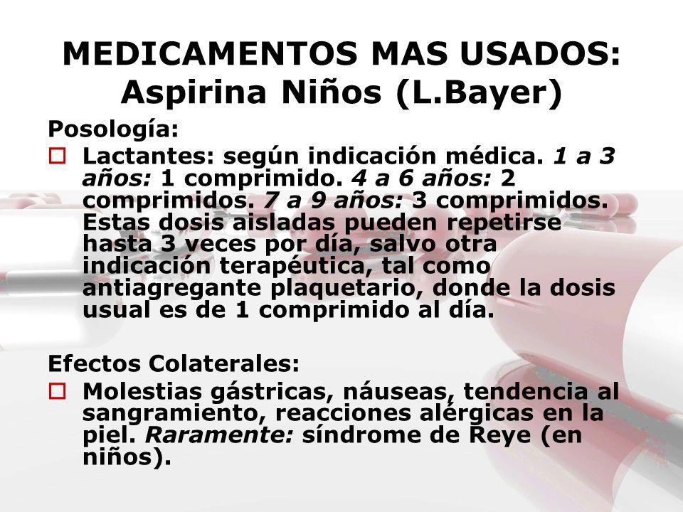 MEDICAMENTOS MAS USADOS: Aspirina Niños (L.Bayer) Posología: Lactantes: según indicación médica. 1 a 3 años: 1 comprimido. 4 a 6 años: 2 comprimidos.