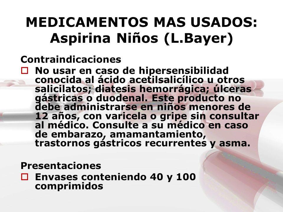 MEDICAMENTOS MAS USADOS: Aspirina Niños (L.Bayer) Contraindicaciones No usar en caso de hipersensibilidad conocida al ácido acetilsalicílico u otros s