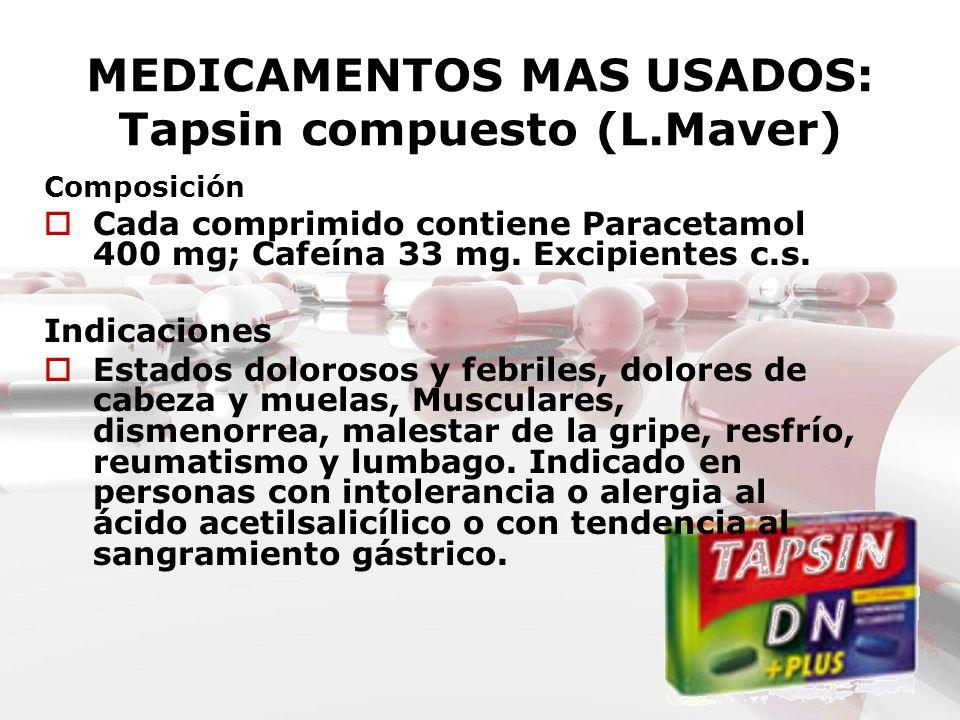 MEDICAMENTOS MAS USADOS: Tapsin compuesto (L.Maver) Composición Cada comprimido contiene Paracetamol 400 mg; Cafeína 33 mg. Excipientes c.s. Indicacio