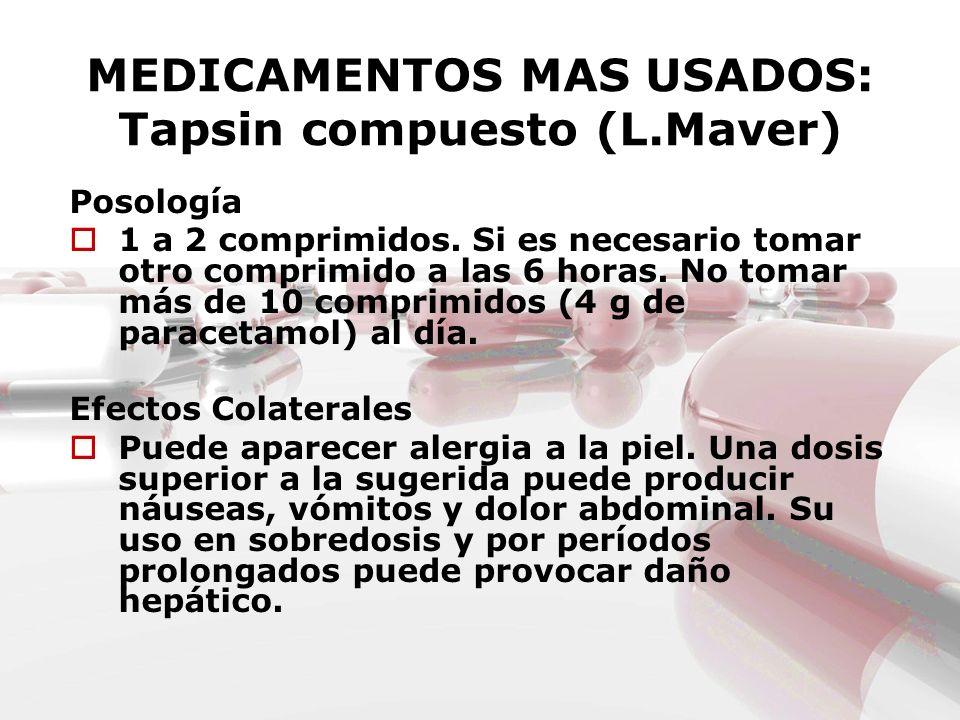 MEDICAMENTOS MAS USADOS: Tapsin compuesto (L.Maver) Posología 1 a 2 comprimidos. Si es necesario tomar otro comprimido a las 6 horas. No tomar más de