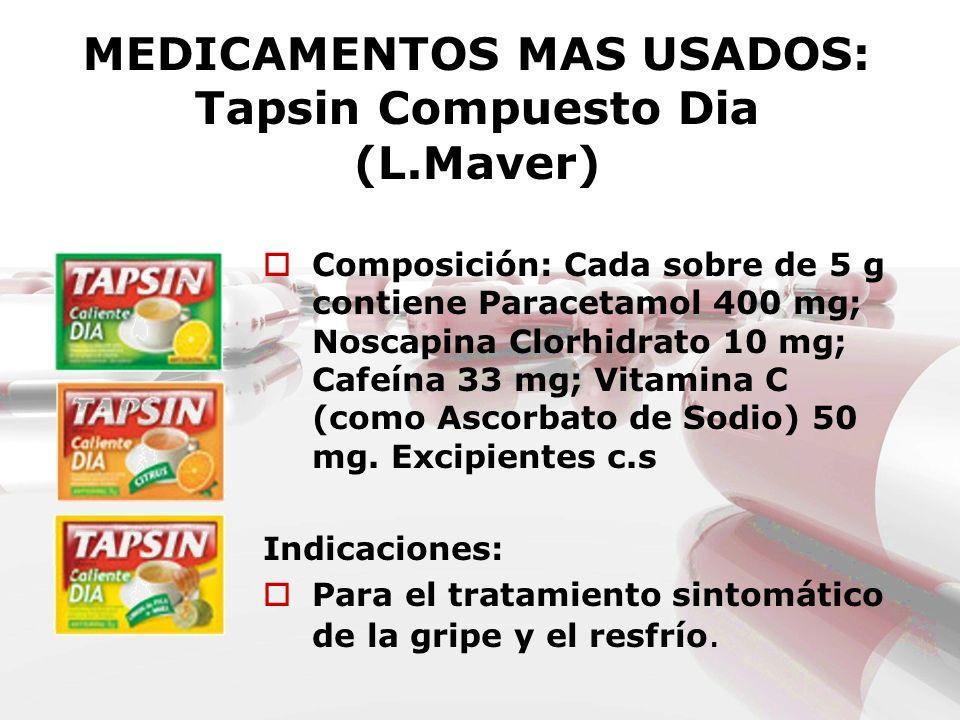 MEDICAMENTOS MAS USADOS: Tapsin Compuesto Dia (L.Maver) Composición: Cada sobre de 5 g contiene Paracetamol 400 mg; Noscapina Clorhidrato 10 mg; Cafeí