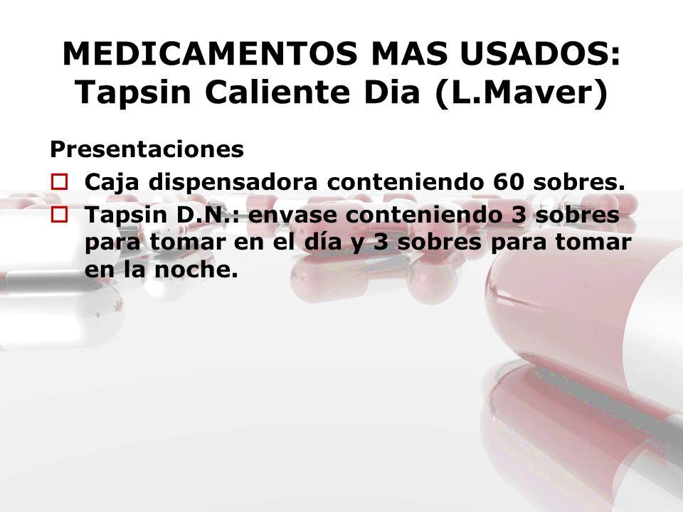 MEDICAMENTOS MAS USADOS: Tapsin Caliente Dia (L.Maver) Presentaciones Caja dispensadora conteniendo 60 sobres. Tapsin D.N.: envase conteniendo 3 sobre