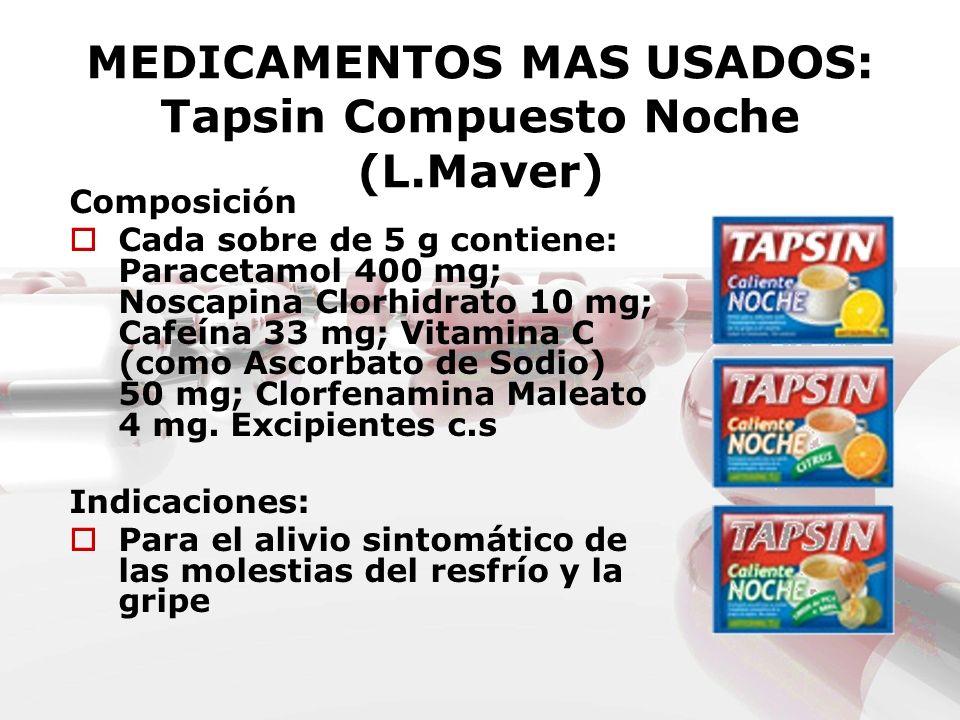 MEDICAMENTOS MAS USADOS: Tapsin Compuesto Noche (L.Maver) Composición Cada sobre de 5 g contiene: Paracetamol 400 mg; Noscapina Clorhidrato 10 mg; Caf
