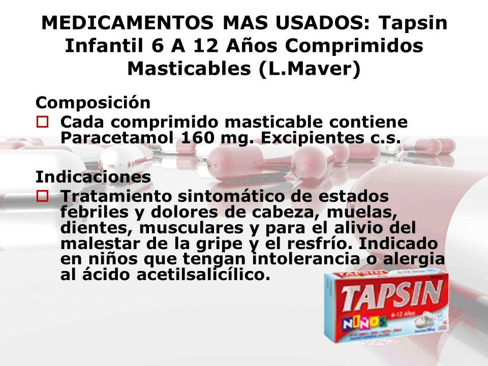 MEDICAMENTOS MAS USADOS: Tapsin Infantil 6 A 12 Años Comprimidos Masticables (L.Maver) Composición Cada comprimido masticable contiene Paracetamol 160