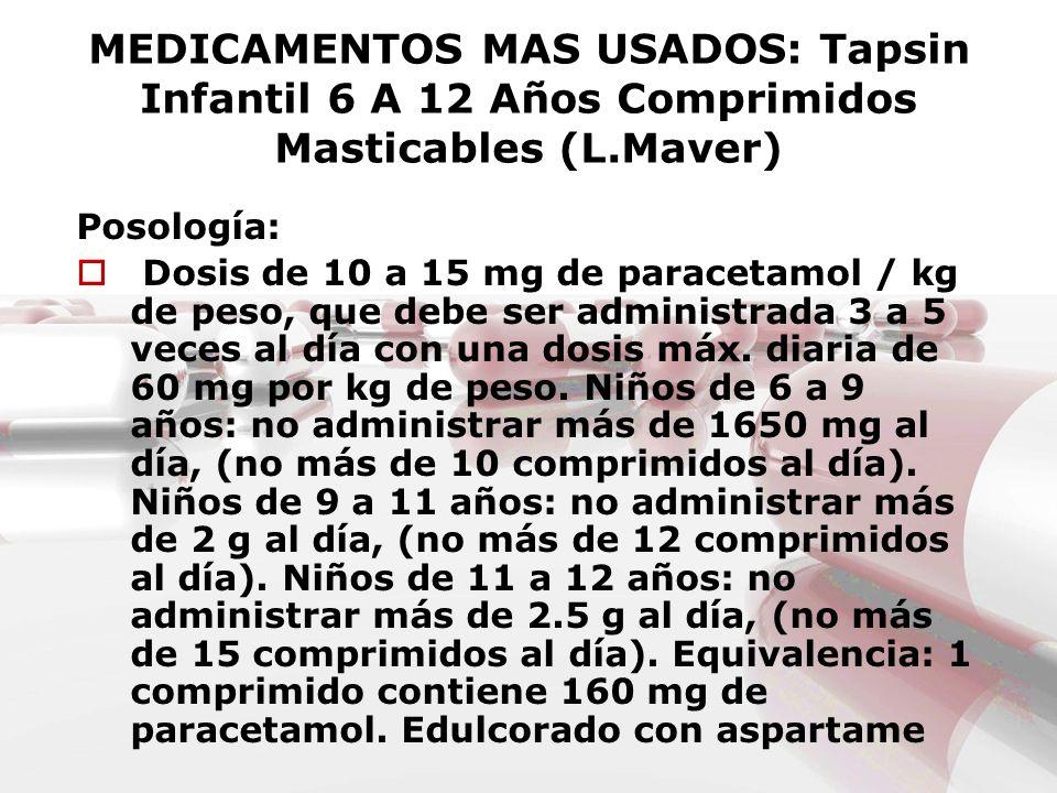 MEDICAMENTOS MAS USADOS: Tapsin Infantil 6 A 12 Años Comprimidos Masticables (L.Maver) Posología: Dosis de 10 a 15 mg de paracetamol / kg de peso, que