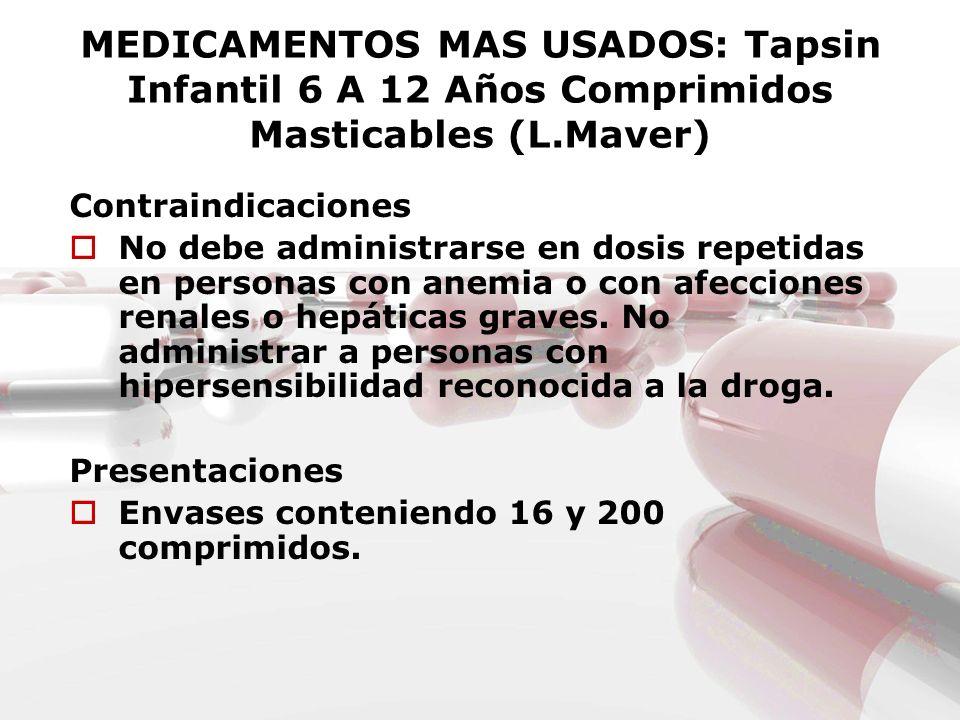 MEDICAMENTOS MAS USADOS: Tapsin Infantil 6 A 12 Años Comprimidos Masticables (L.Maver) Contraindicaciones No debe administrarse en dosis repetidas en