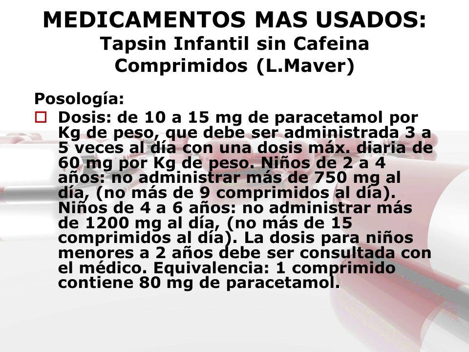MEDICAMENTOS MAS USADOS: Tapsin Infantil sin Cafeina Comprimidos (L.Maver) Posología: Dosis: de 10 a 15 mg de paracetamol por Kg de peso, que debe ser