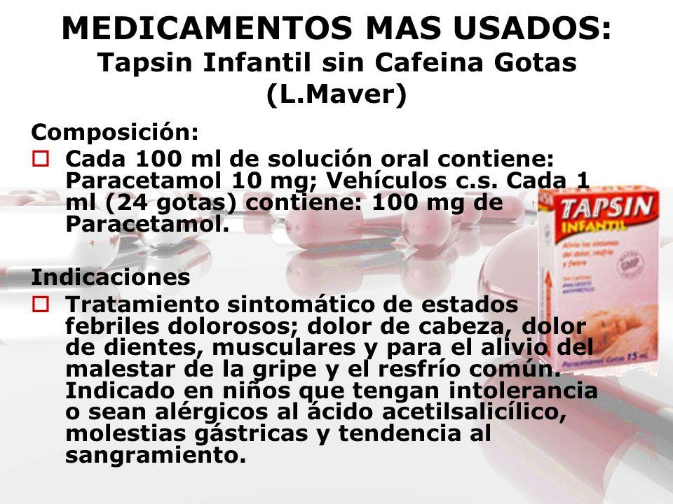MEDICAMENTOS MAS USADOS: Tapsin Infantil sin Cafeina Gotas (L.Maver) Composición: Cada 100 ml de solución oral contiene: Paracetamol 10 mg; Vehículos