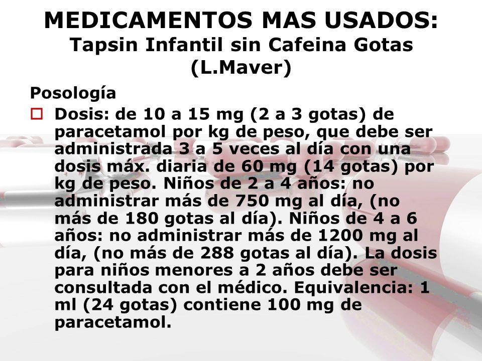 MEDICAMENTOS MAS USADOS: Tapsin Infantil sin Cafeina Gotas (L.Maver) Posología Dosis: de 10 a 15 mg (2 a 3 gotas) de paracetamol por kg de peso, que d