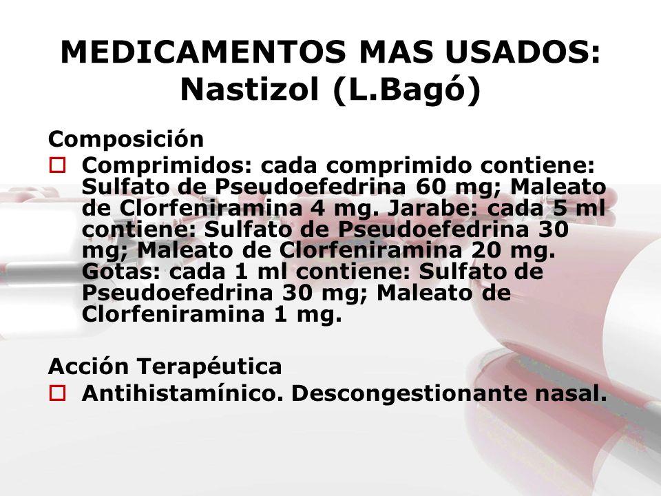 MEDICAMENTOS MAS USADOS: Nastizol (L.Bagó) Composición Comprimidos: cada comprimido contiene: Sulfato de Pseudoefedrina 60 mg; Maleato de Clorfenirami
